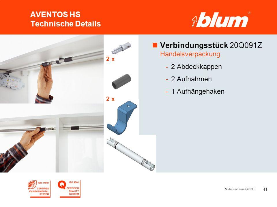 41 © Julius Blum GmbH AVENTOS HS Technische Details nVerbindungsstück 20Q091Z Handelsverpackung -2 Abdeckkappen -2 Aufnahmen -1 Aufhängehaken 2 x