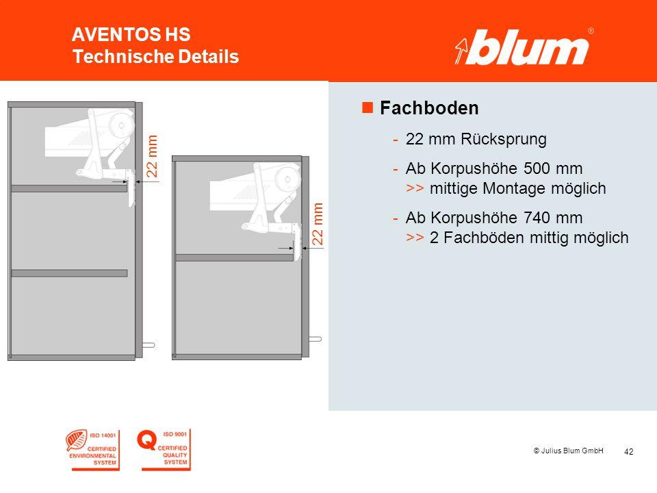 42 © Julius Blum GmbH AVENTOS HS Technische Details nFachboden -22 mm Rücksprung -Ab Korpushöhe 500 mm >> mittige Montage möglich -Ab Korpushöhe 740 m