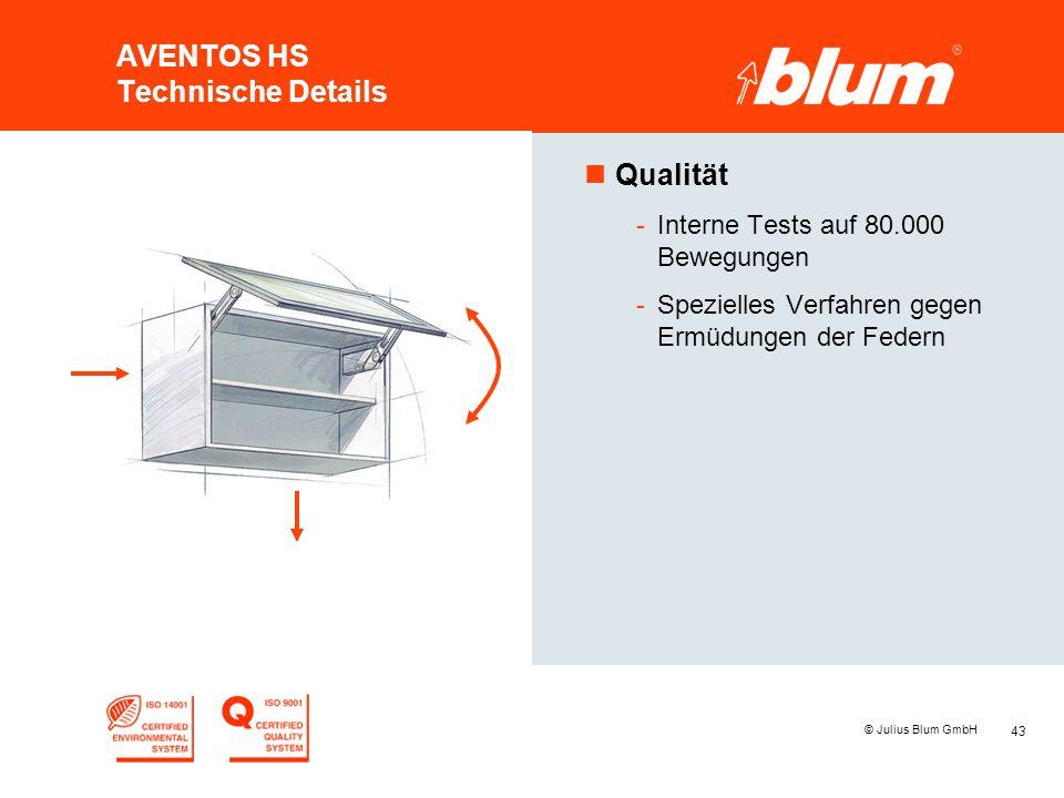 43 © Julius Blum GmbH AVENTOS HS Technische Details nQualität -Interne Tests auf 80.000 Bewegungen -Spezielles Verfahren gegen Ermüdungen der Federn