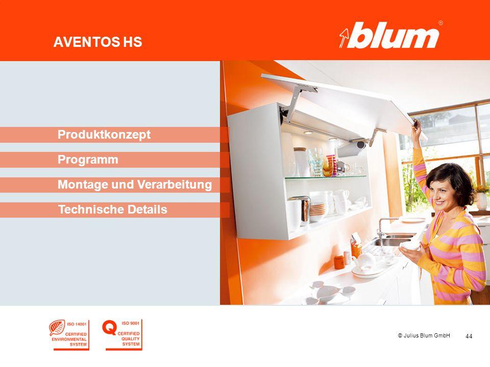 44 © Julius Blum GmbH AVENTOS HS Programm Produktkonzept Montage und Verarbeitung Technische Details