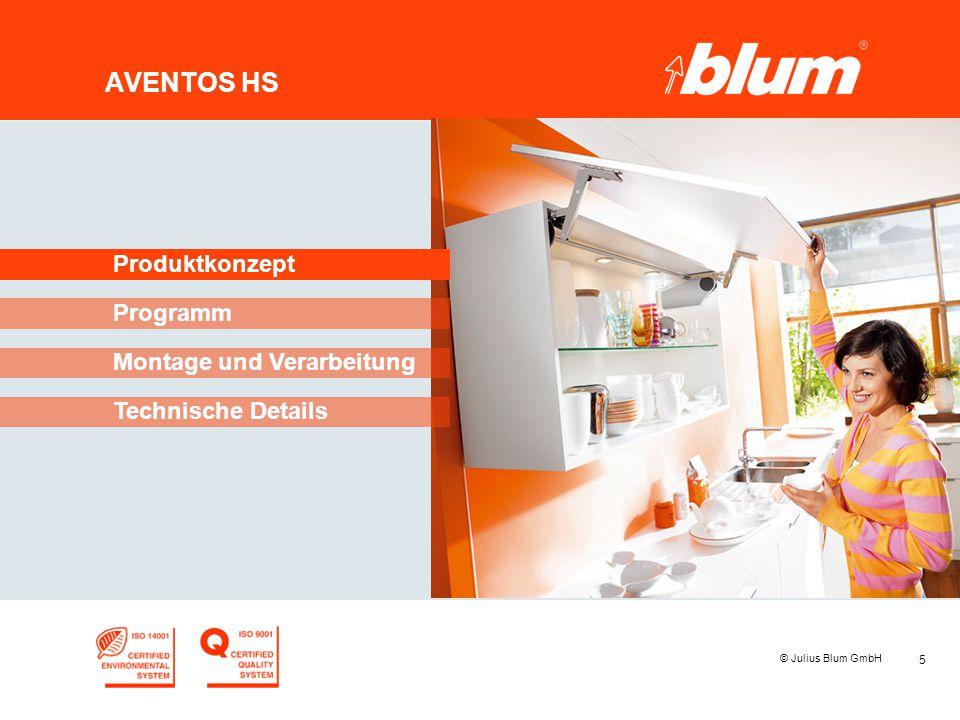 5 © Julius Blum GmbH AVENTOS HS Programm Produktkonzept Montage und Verarbeitung Technische Details