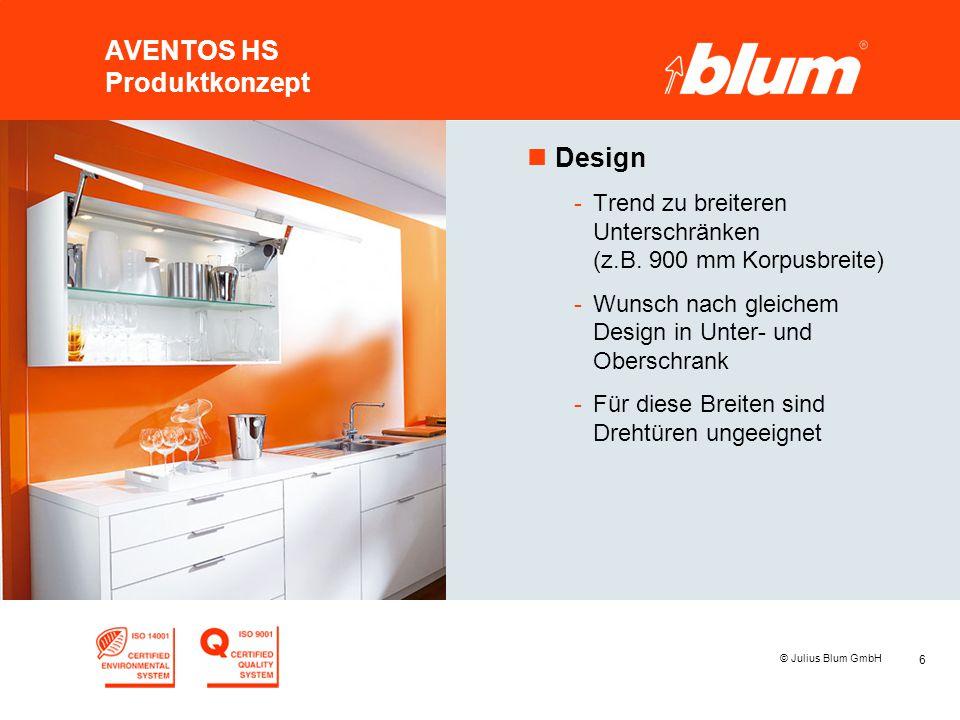 6 © Julius Blum GmbH AVENTOS HS Produktkonzept nDesign -Trend zu breiteren Unterschränken (z.B. 900 mm Korpusbreite) -Wunsch nach gleichem Design in U