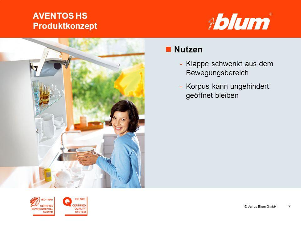 7 © Julius Blum GmbH AVENTOS HS Produktkonzept nNutzen -Klappe schwenkt aus dem Bewegungsbereich -Korpus kann ungehindert geöffnet bleiben