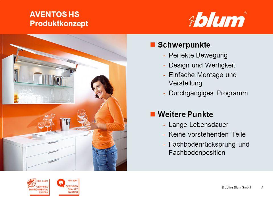 8 © Julius Blum GmbH AVENTOS HS Produktkonzept nSchwerpunkte -Perfekte Bewegung -Design und Wertigkeit -Einfache Montage und Verstellung -Durchgängige