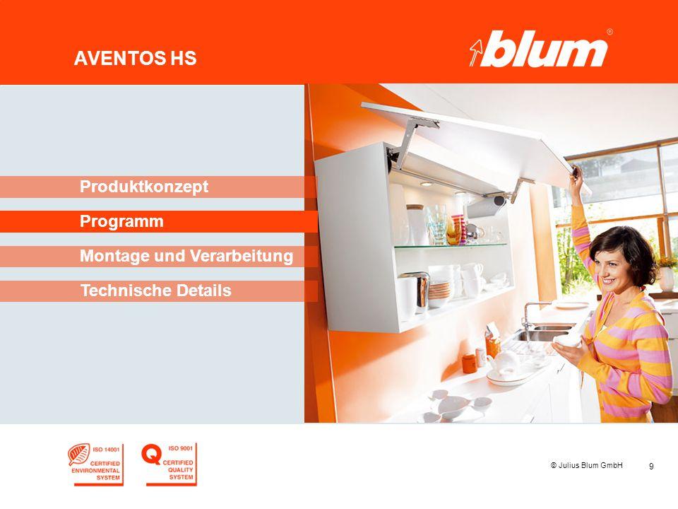 9 © Julius Blum GmbH AVENTOS HS Programm Produktkonzept Montage und Verarbeitung Technische Details