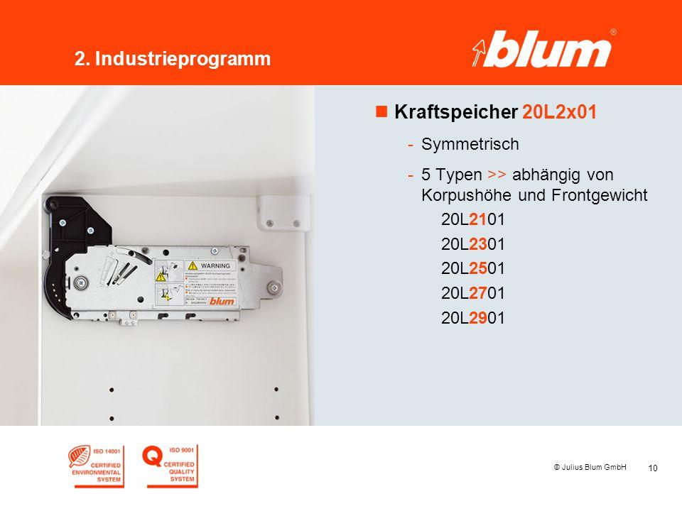 10 © Julius Blum GmbH 2. Industrieprogramm nKraftspeicher 20L2x01 -Symmetrisch -5 Typen >> abhängig von Korpushöhe und Frontgewicht 20L2101 20L2301 20