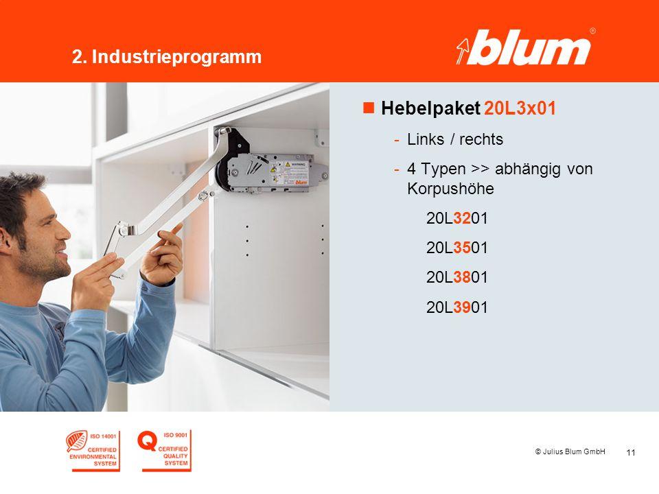 11 © Julius Blum GmbH 2. Industrieprogramm nHebelpaket 20L3x01 -Links / rechts -4 Typen >> abhängig von Korpushöhe 20L3201 20L3501 20L3801 20L3901