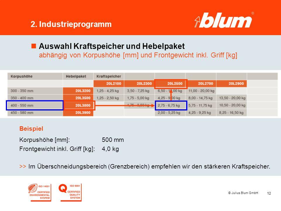 12 © Julius Blum GmbH 2. Industrieprogramm nAuswahl Kraftspeicher und Hebelpaket abhängig von Korpushöhe [mm] und Frontgewicht inkl. Griff [kg] Beispi
