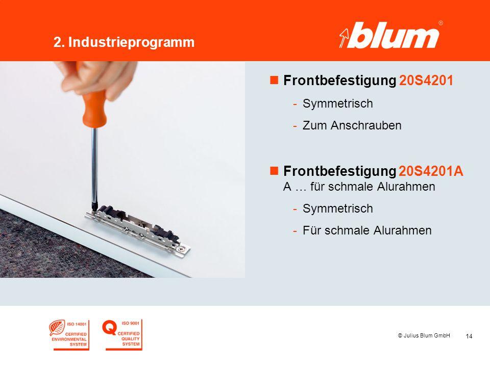 14 © Julius Blum GmbH 2. Industrieprogramm nFrontbefestigung 20S4201 -Symmetrisch -Zum Anschrauben nFrontbefestigung 20S4201A A … für schmale Alurahme