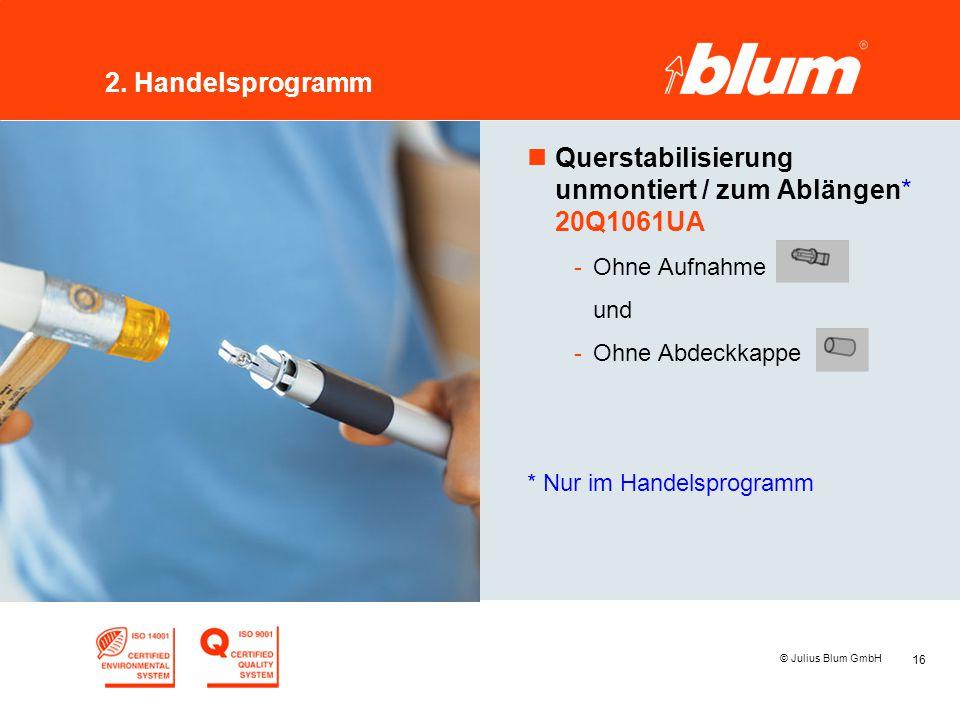 16 © Julius Blum GmbH 2. Handelsprogramm nQuerstabilisierung unmontiert / zum Ablängen* 20Q1061UA -Ohne Aufnahme und -Ohne Abdeckkappe * Nur im Handel