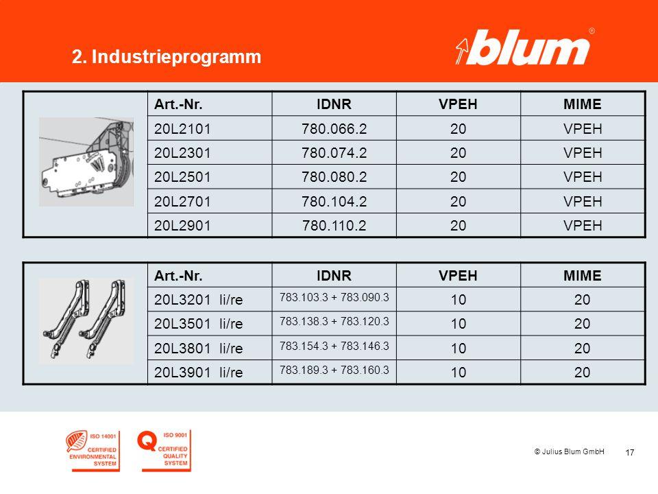 17 © Julius Blum GmbH 2. Industrieprogramm Art.-Nr.IDNRVPEHMIME 20L2101780.066.220VPEH 20L2301780.074.220VPEH 20L2501780.080.220VPEH 20L2701780.104.22