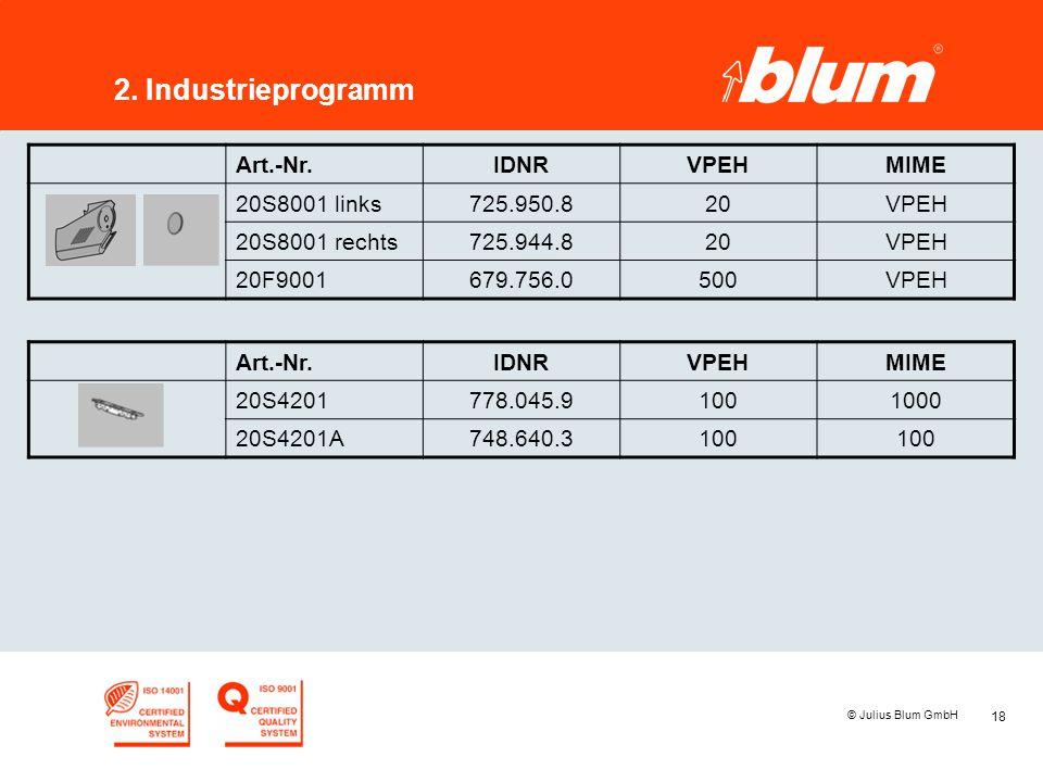 18 © Julius Blum GmbH 2. Industrieprogramm Art.-Nr.IDNRVPEHMIME 20S8001 links725.950.820VPEH 20S8001 rechts725.944.820VPEH 20F9001679.756.0500VPEH Art