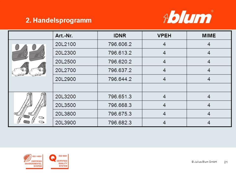 21 © Julius Blum GmbH 2. Handelsprogramm Art.-Nr.IDNRVPEHMIME 20L2100796.606.244 20L2300796.613.244 20L2500796.620.244 20L2700796.637.244 20L2900796.6