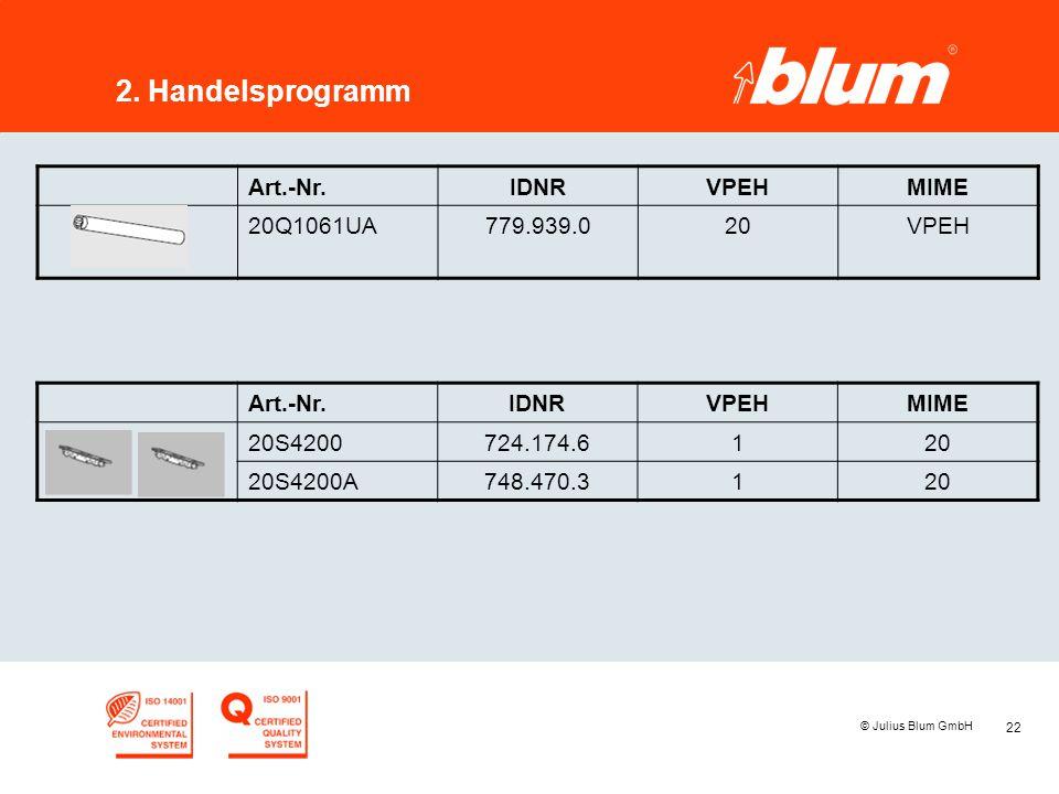 22 © Julius Blum GmbH 2. Handelsprogramm Art.-Nr.IDNRVPEHMIME 20Q1061UA779.939.020VPEH Art.-Nr.IDNRVPEHMIME 20S4200724.174.6120 20S4200A748.470.3120