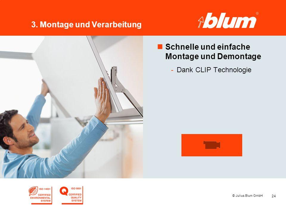 24 © Julius Blum GmbH 3. Montage und Verarbeitung nSchnelle und einfache Montage und Demontage -Dank CLIP Technologie