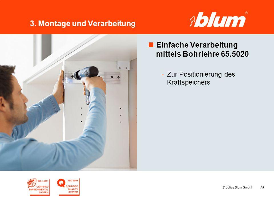 25 © Julius Blum GmbH 3. Montage und Verarbeitung nEinfache Verarbeitung mittels Bohrlehre 65.5020 -Zur Positionierung des Kraftspeichers