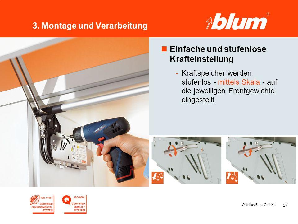 27 © Julius Blum GmbH 3. Montage und Verarbeitung nEinfache und stufenlose Krafteinstellung -Kraftspeicher werden stufenlos - mittels Skala - auf die