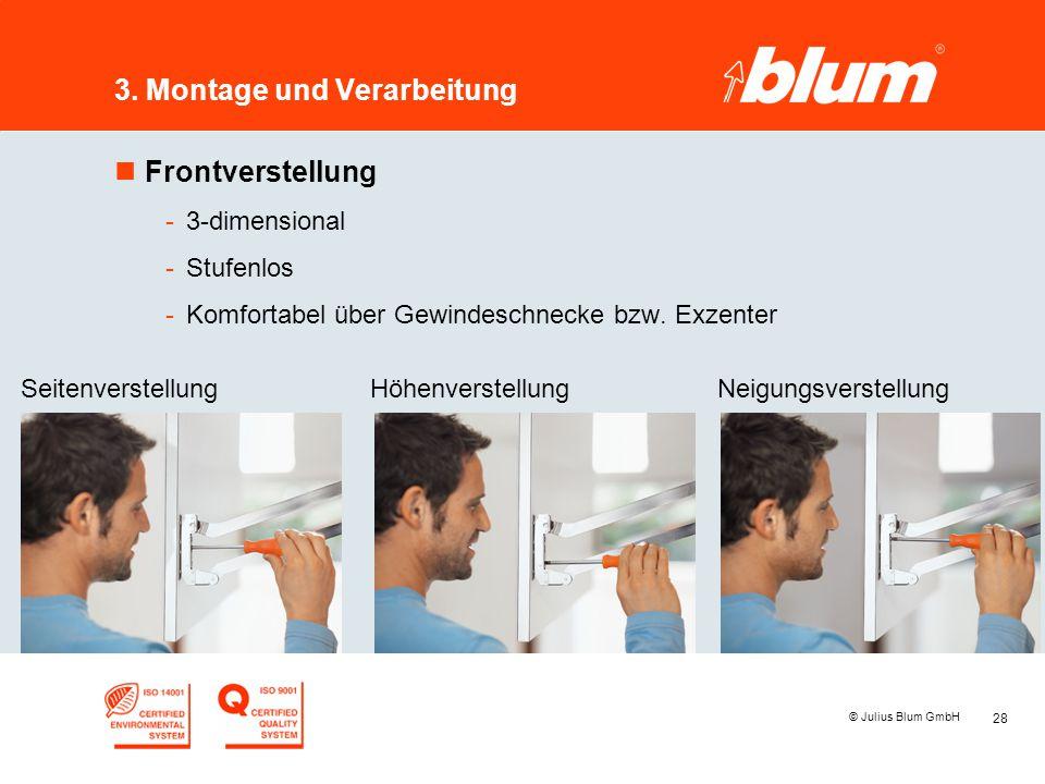 28 © Julius Blum GmbH 3. Montage und Verarbeitung nFrontverstellung -3-dimensional -Stufenlos -Komfortabel über Gewindeschnecke bzw. Exzenter Seitenve
