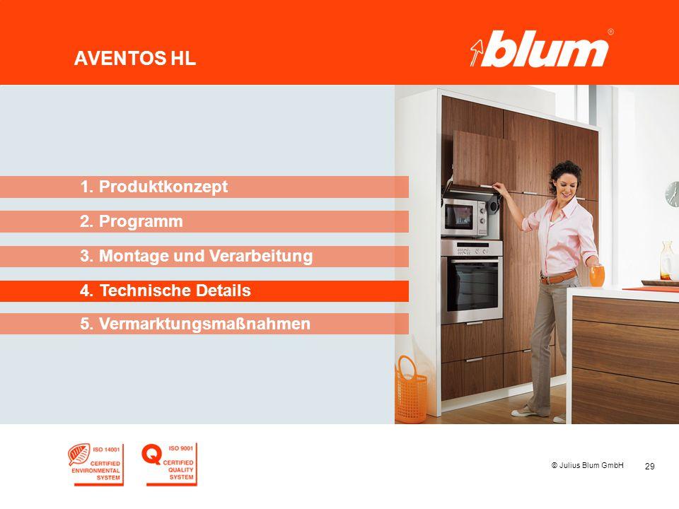 29 © Julius Blum GmbH AVENTOS HL 2. Programm 1. Produktkonzept 3. Montage und Verarbeitung 4. Technische Details 5. Vermarktungsmaßnahmen