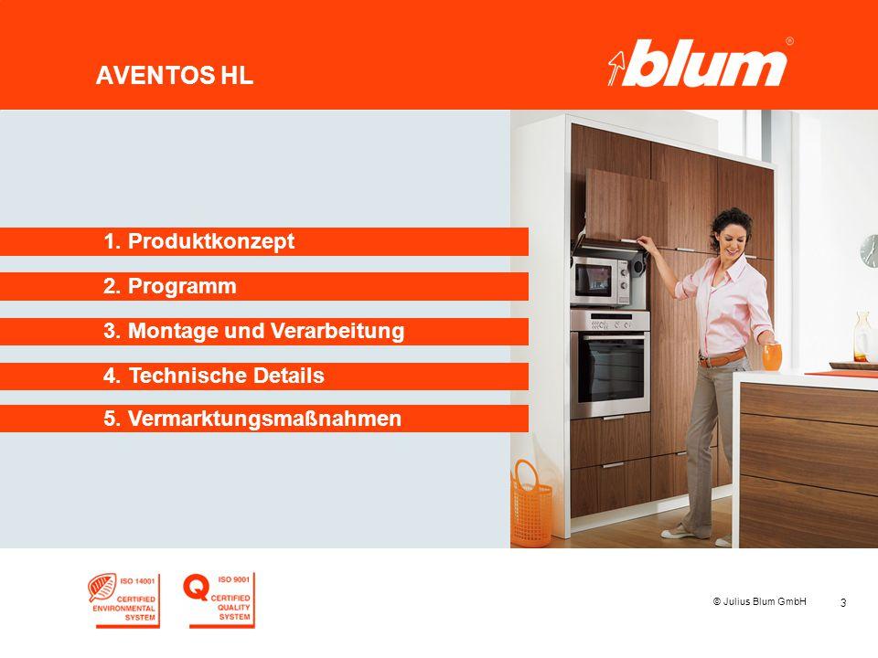 3 © Julius Blum GmbH AVENTOS HL 2. Programm 1. Produktkonzept 3. Montage und Verarbeitung 4. Technische Details 5. Vermarktungsmaßnahmen