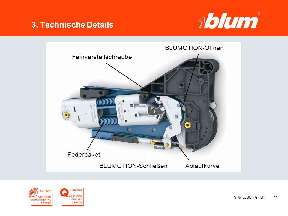 30 © Julius Blum GmbH 3. Technische Details BLUMOTION-Öffnen Federpaket BLUMOTION-SchließenAblaufkurve Feinverstellschraube