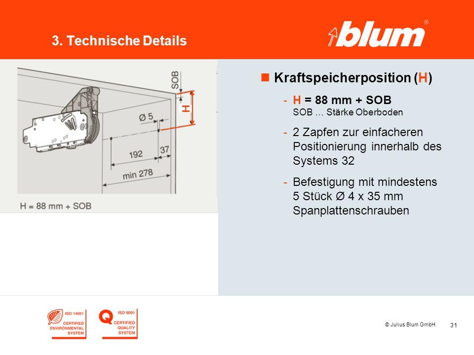 31 © Julius Blum GmbH 3. Technische Details nKraftspeicherposition (H) -H = 88 mm + SOB SOB … Stärke Oberboden -2 Zapfen zur einfacheren Positionierun