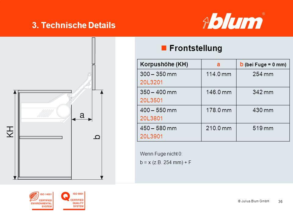 36 © Julius Blum GmbH 3. Technische Details nFrontstellung Korpushöhe (KH)ab (bei Fuge = 0 mm) 300 – 350 mm 20L3201 114.0 mm254 mm 350 – 400 mm 20L350