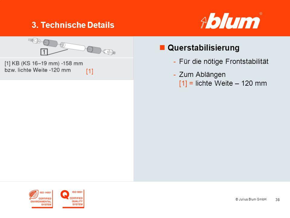 38 © Julius Blum GmbH 3. Technische Details nQuerstabilisierung -Für die nötige Frontstabilität -Zum Ablängen [1] = lichte Weite – 120 mm [1]
