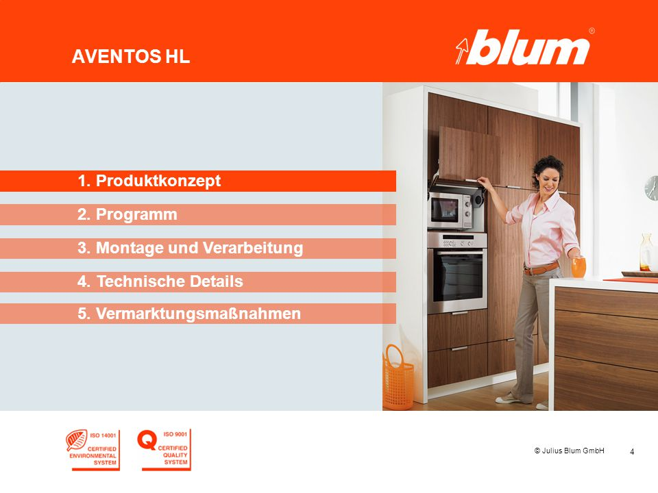 4 © Julius Blum GmbH AVENTOS HL 2. Programm 1. Produktkonzept 3. Montage und Verarbeitung 4. Technische Details 5. Vermarktungsmaßnahmen