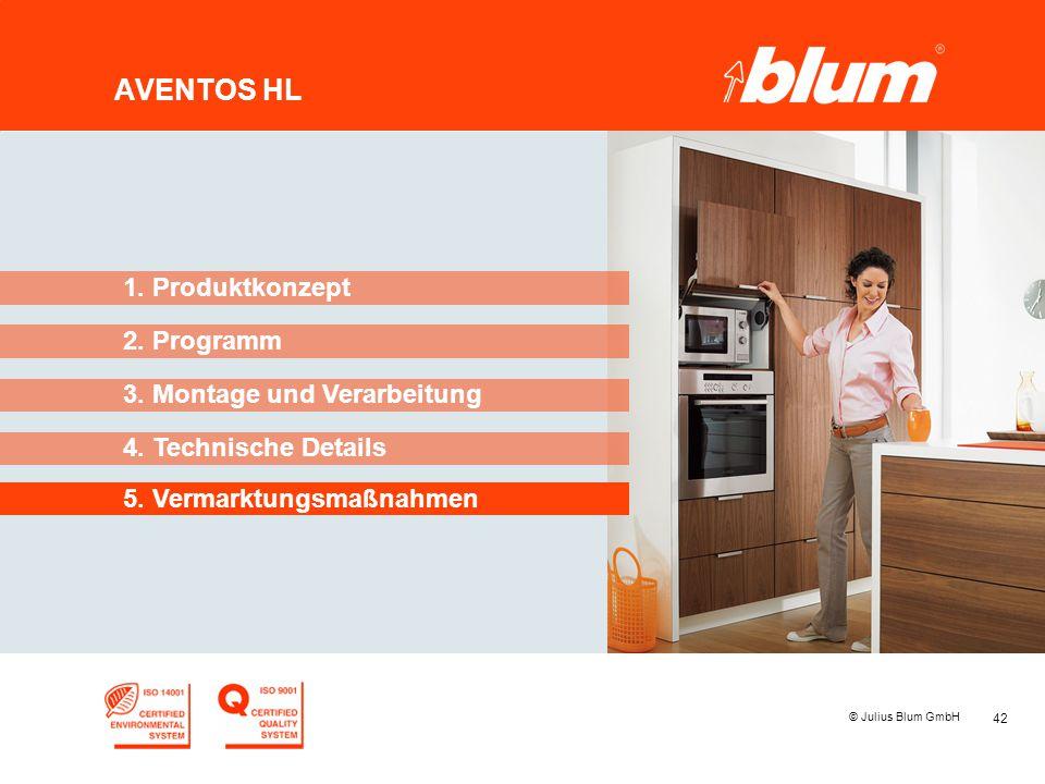 42 © Julius Blum GmbH AVENTOS HL 2. Programm 1. Produktkonzept 3. Montage und Verarbeitung 4. Technische Details 5. Vermarktungsmaßnahmen