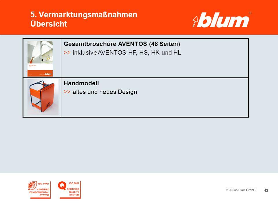 43 © Julius Blum GmbH 5. Vermarktungsmaßnahmen Übersicht Gesamtbroschüre AVENTOS (48 Seiten) >> inklusive AVENTOS HF, HS, HK und HL Handmodell >> alte