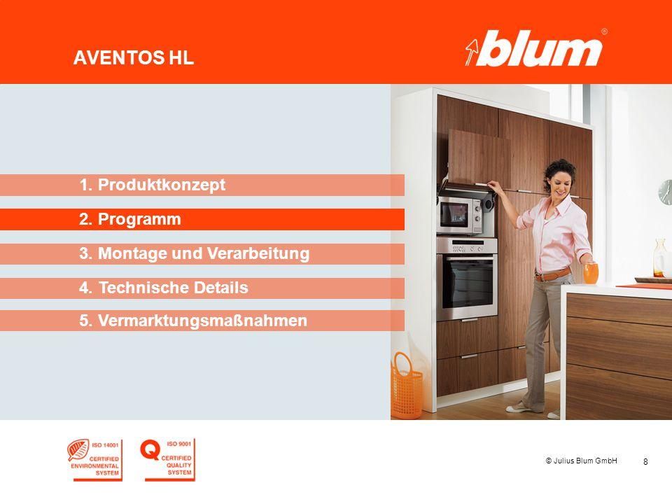 8 © Julius Blum GmbH AVENTOS HL 2. Programm 1. Produktkonzept 3. Montage und Verarbeitung 4. Technische Details 5. Vermarktungsmaßnahmen