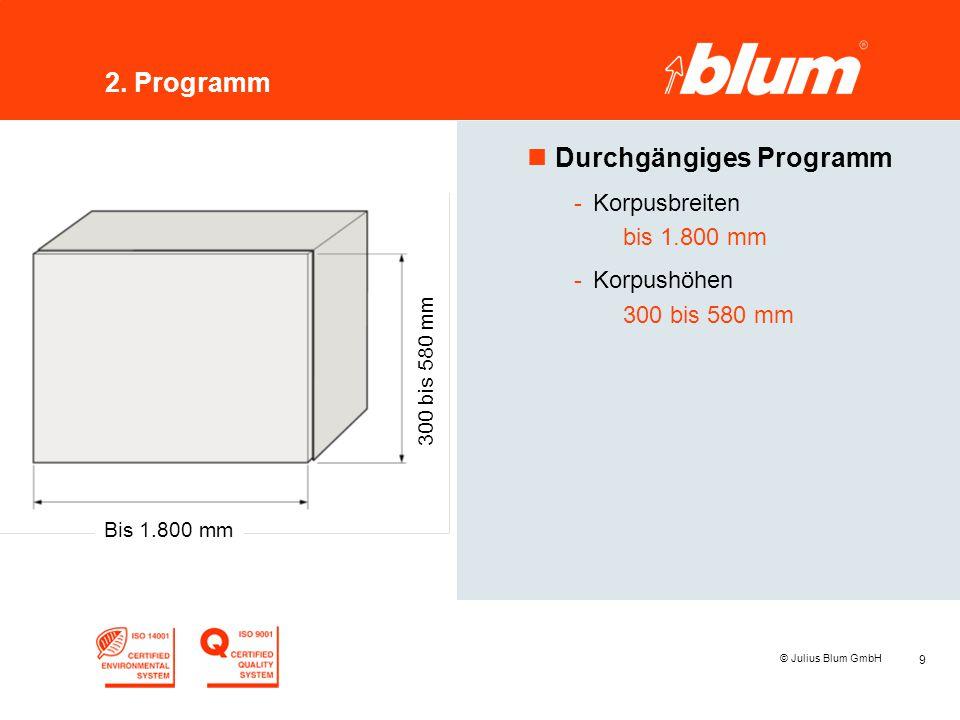 9 © Julius Blum GmbH 2. Programm nDurchgängiges Programm -Korpusbreiten bis 1.800 mm -Korpushöhen 300 bis 580 mm Bis 1.800 mm 300 bis 580 mm