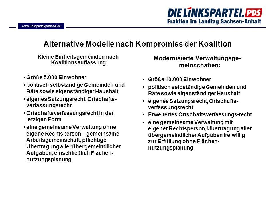 Alternative Modelle nach Kompromiss der Koalition Kleine Einheitsgemeinden nach Koalitionsauffassung: Größe 5.000 Einwohner politisch selbständige Gem