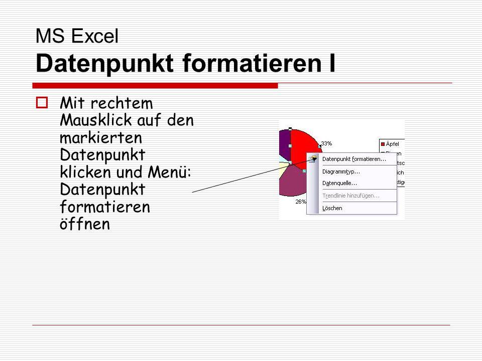MS Excel Datenpunkt formatieren I Mit rechtem Mausklick auf den markierten Datenpunkt klicken und Menü: Datenpunkt formatieren öffnen