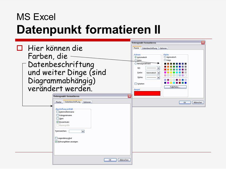 MS Excel Datenpunkt formatieren II Hier können die Farben, die Datenbeschriftung und weiter Dinge (sind Diagrammabhängig) verändert werden.