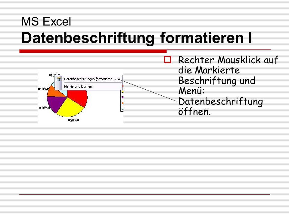 MS Excel Datenbeschriftung formatieren I Rechter Mausklick auf die Markierte Beschriftung und Menü: Datenbeschriftung öffnen.