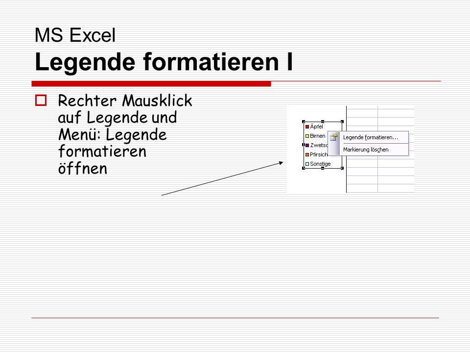 MS Excel Legende formatieren I Rechter Mausklick auf Legende und Menü: Legende formatieren öffnen