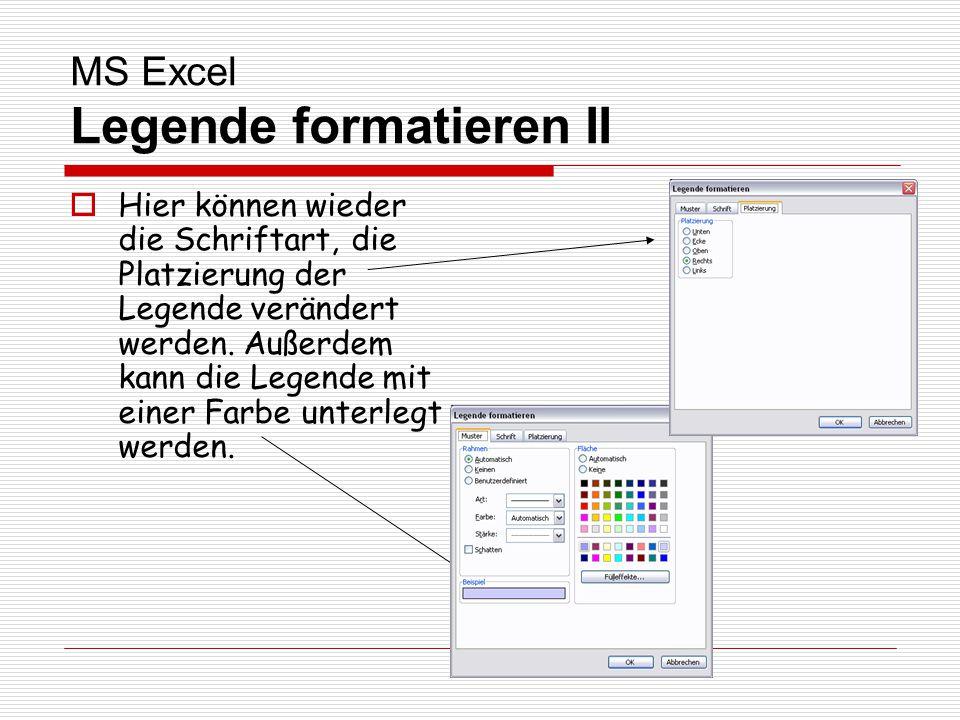 MS Excel Legende formatieren II Hier können wieder die Schriftart, die Platzierung der Legende verändert werden. Außerdem kann die Legende mit einer F
