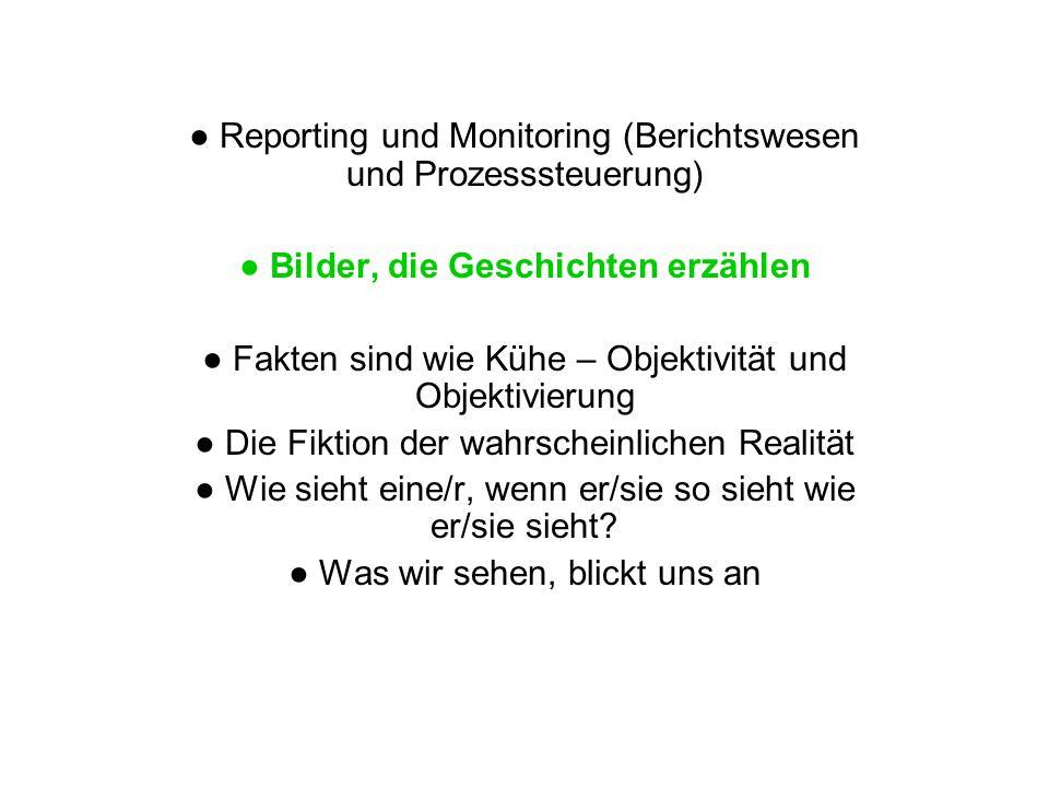 Reporting und Monitoring (Berichtswesen und Prozesssteuerung) Bilder, die Geschichten erzählen Fakten sind wie Kühe – Objektivität und Objektivierung Die Fiktion der wahrscheinlichen Realität Wie sieht eine/r, wenn er/sie so sieht wie er/sie sieht.