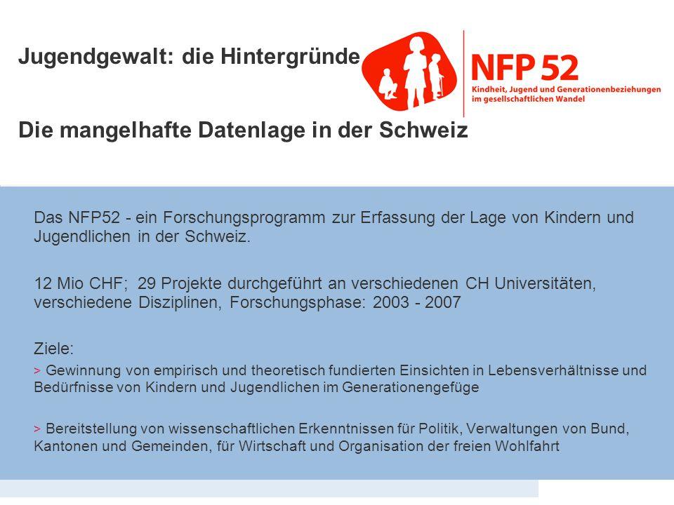 Eckdaten NFP 52 Das NFP52 - ein Forschungsprogramm zur Erfassung der Lage von Kindern und Jugendlichen in der Schweiz. 12 Mio CHF; 29 Projekte durchge