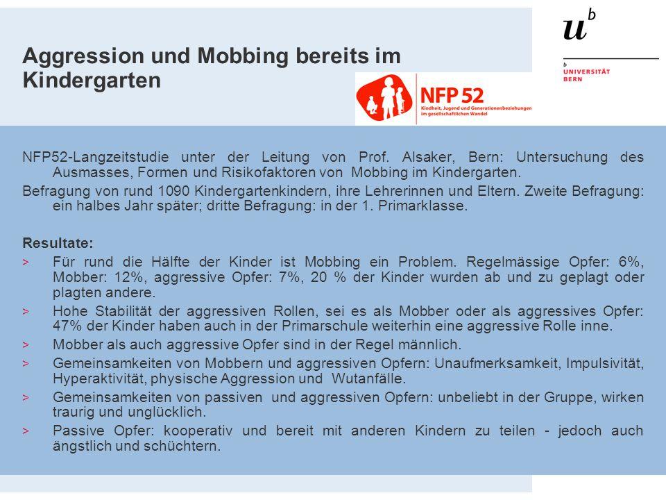 Aggression und Mobbing bereits im Kindergarten NFP52-Langzeitstudie unter der Leitung von Prof. Alsaker, Bern: Untersuchung des Ausmasses, Formen und