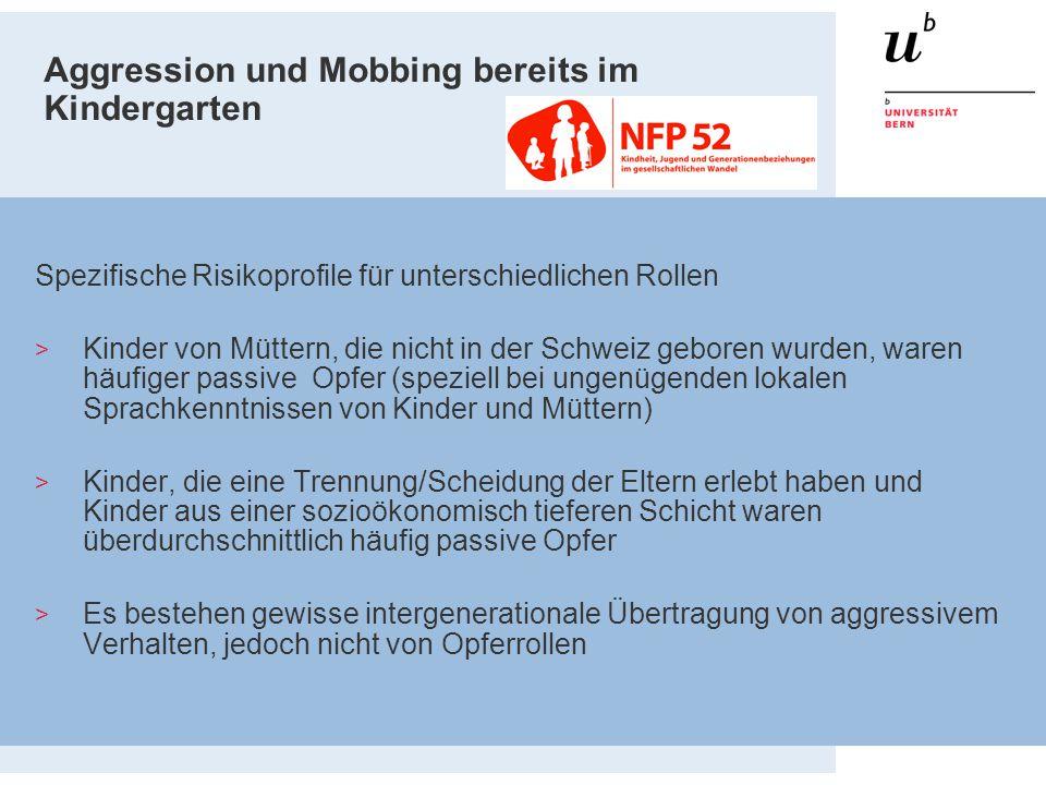 Aggression und Mobbing bereits im Kindergarten Spezifische Risikoprofile für unterschiedlichen Rollen > Kinder von Müttern, die nicht in der Schweiz g
