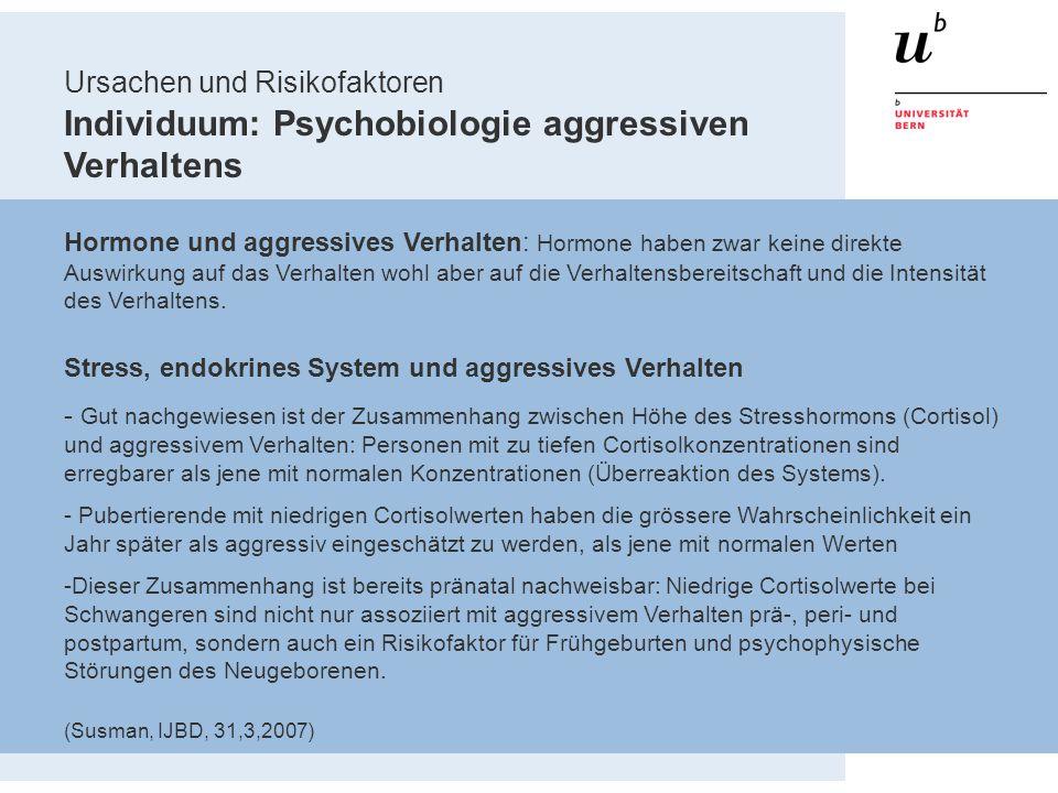 Ursachen und Risikofaktoren Individuum: Psychobiologie aggressiven Verhaltens Hormone und aggressives Verhalten: Hormone haben zwar keine direkte Ausw