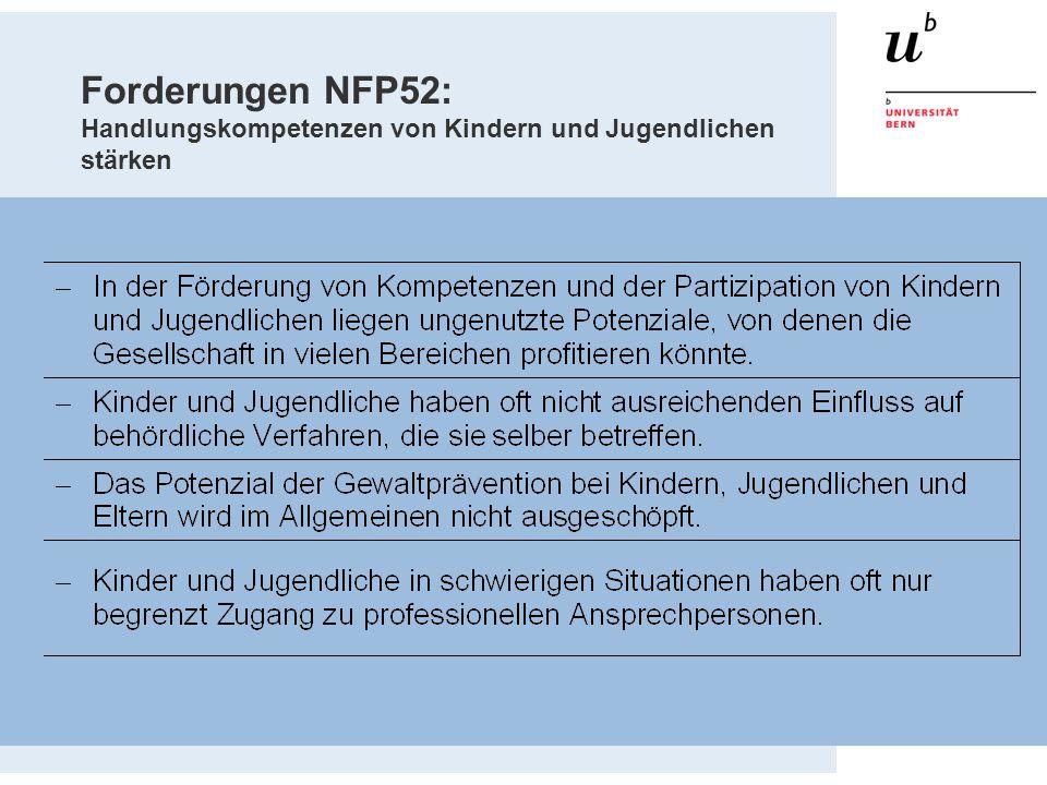 Forderungen NFP52: Handlungskompetenzen von Kindern und Jugendlichen stärken