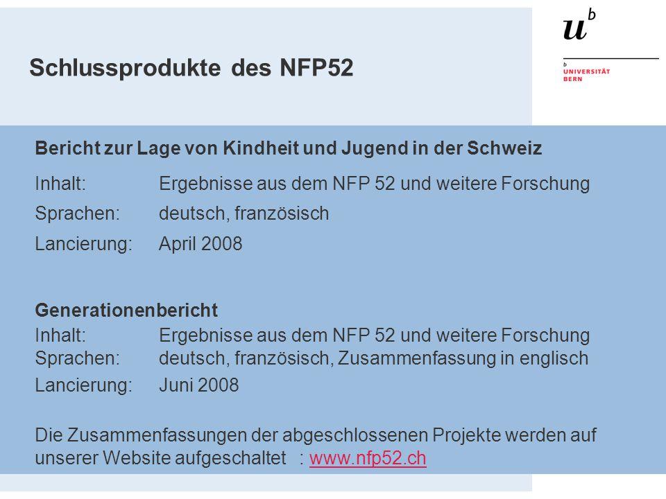 Schlussprodukte des NFP52 Bericht zur Lage von Kindheit und Jugend in der Schweiz Inhalt:Ergebnisse aus dem NFP 52 und weitere Forschung Sprachen: deu