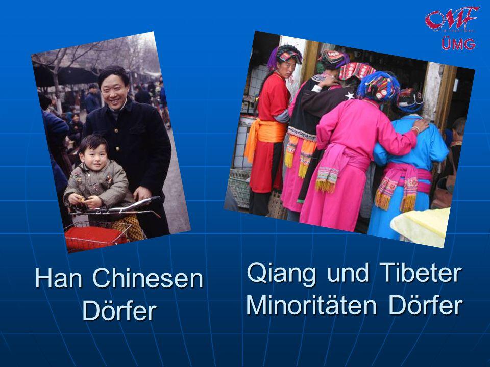 Han Chinesen Dörfer Qiang und Tibeter Minoritäten Dörfer