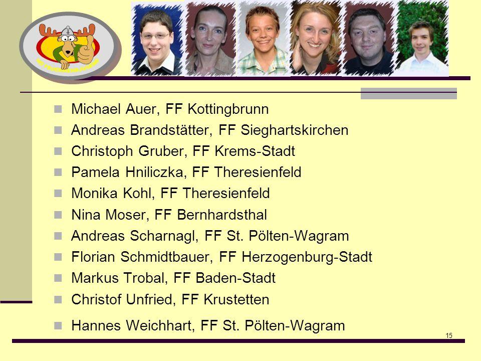 15 Michael Auer, FF Kottingbrunn Andreas Brandstätter, FF Sieghartskirchen Christoph Gruber, FF Krems-Stadt Pamela Hniliczka, FF Theresienfeld Monika