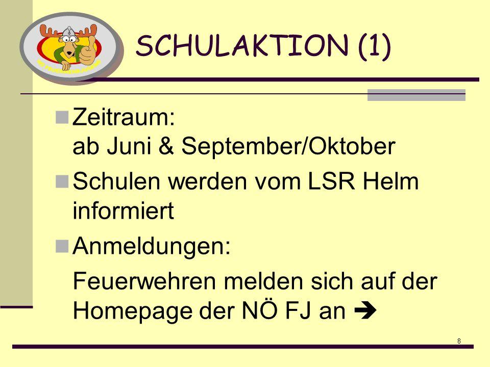8 SCHULAKTION (1) Zeitraum: ab Juni & September/Oktober Schulen werden vom LSR Helm informiert Anmeldungen: Feuerwehren melden sich auf der Homepage d