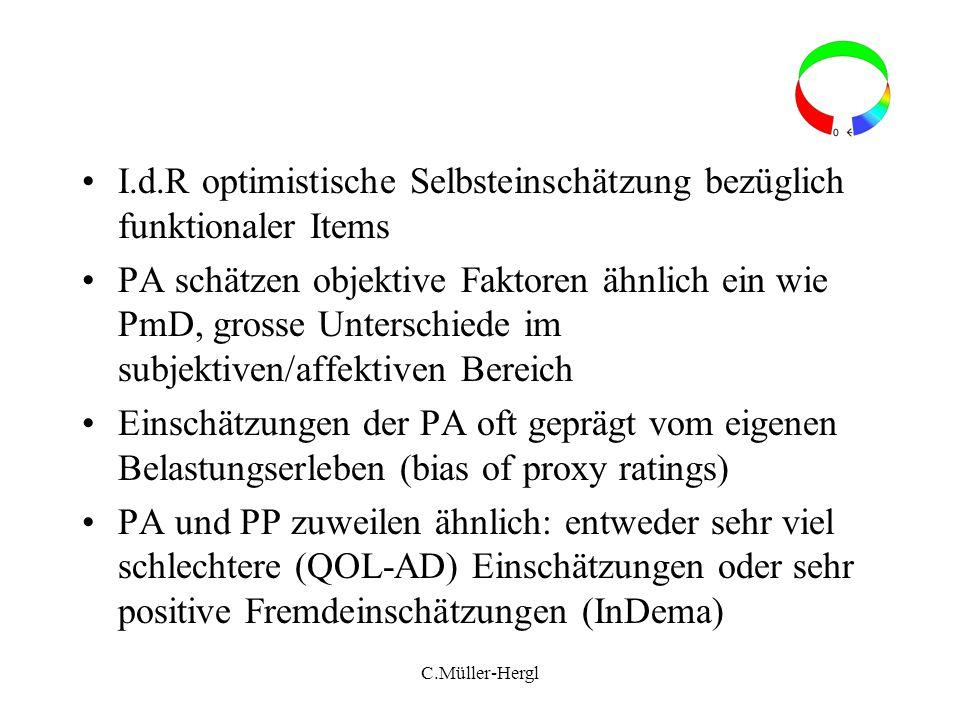 I.d.R optimistische Selbsteinschätzung bezüglich funktionaler Items PA schätzen objektive Faktoren ähnlich ein wie PmD, grosse Unterschiede im subjekt